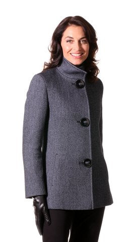Woman's CottonWool Blend Tweed Jacket in Marine Blue designed by Dominic Bellissimo