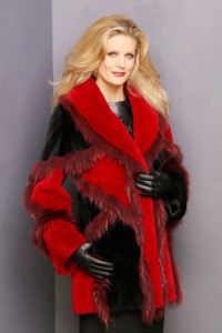 Black and Red dyed Sheared Beaver Jacket with matching dyed Fox Trim