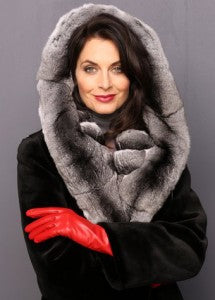 69B-0598 Midnight dyed Sheared Mink Walking Coat with Natural Chinchilla Hood, Leather Gloves (Furs-Chinchilla-Walking Coat)