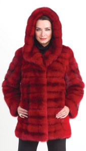 Bisang Designed Rasberry Red Russian Sable Parka