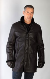 Men's Black dyed Shearling Lamb Fur Car Coat, accessorized with Black Lamb Leather Gloves