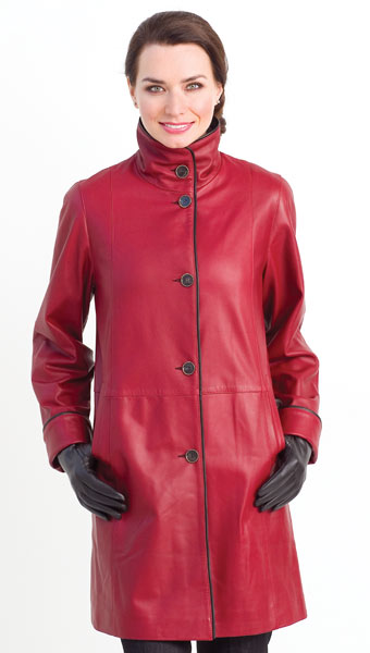 Red Leather Walking Reversible Coat designed by Dominic Bellissimo