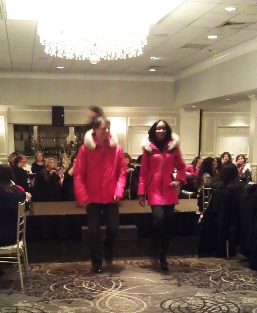 Two Models Wearing M. Miller skiwear at The Ladies of the St. Demetrios of Elmhurst Philoptochos Society fashion show