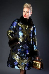 Norman Ambrose designed brocade evening coat with Russian Sable trim