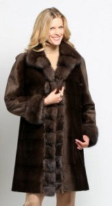 Restyling 19A-0784 Belted Rainsilk Walking Coat Reversible to Sheared Mink and Sable