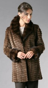 Restyling 8-7974 Natural, Sheared, and Grooved Mahogany Mink Jacket