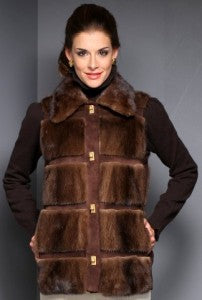 Restyling E-7513 Mahogany Mink and Suede Vest