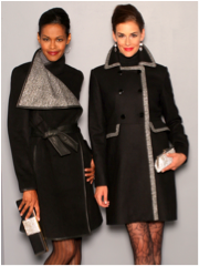 Badgley Mischka designed evening coats infused with silver thread, swarovski crystal evening clutches.