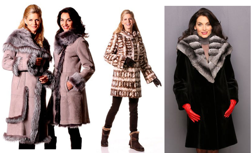 Shearling coats with fox fur and chinchilla trim