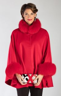 Lipstick Red cashmere/Wool Blend Cape with matching Red dyed Fox Collar & Cuffs