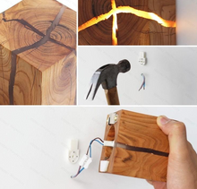 "Load image into Gallery viewer, ""Creative Crack"" - Natural Wood Wall Light"