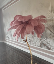"Load image into Gallery viewer, ""Palm Feathers"" - Exotic Ostrich Feather Floor Lamp"