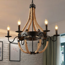 "Load image into Gallery viewer, ""Rope & Candles"" - Vintage Industrial Chandelier"