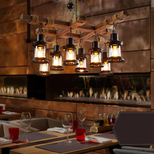 "Load image into Gallery viewer, ""Cross Beams"" - Rustic Solid Wood Pendant Light"