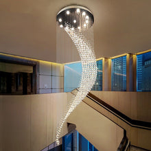 "Load image into Gallery viewer, ""The Wave"" - Spiral Crystal Chandelier"