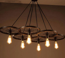 "Load image into Gallery viewer, ""Wagon Wheels"" - Rustic Pendant Light"