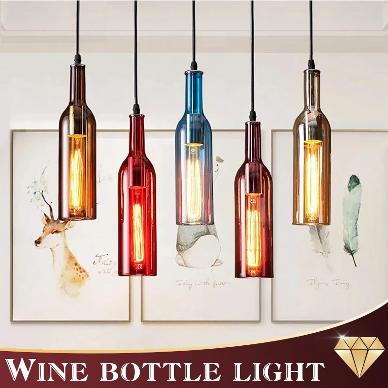Wine Bottle Pendant Ceiling Lamp
