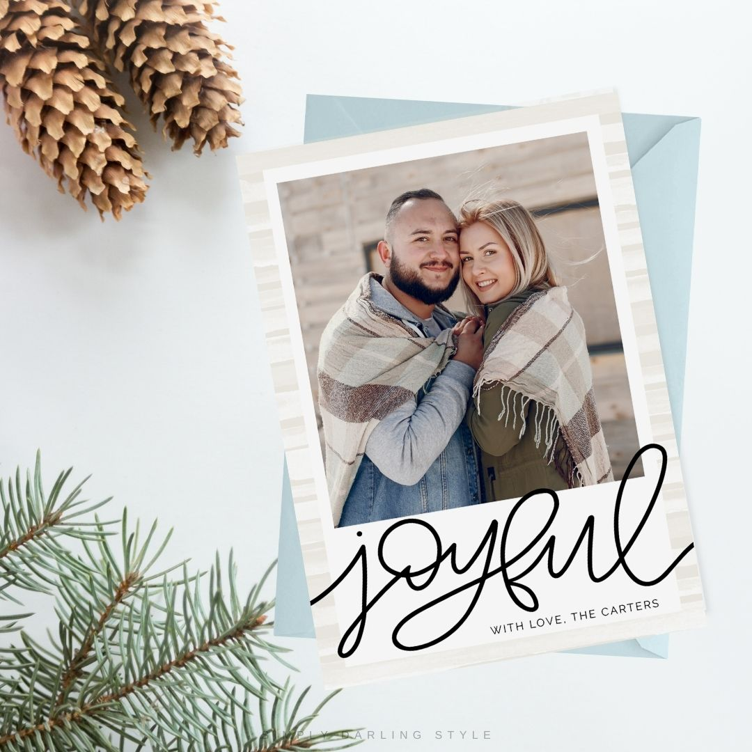 Natural Watercolor Stripes Christmas Card