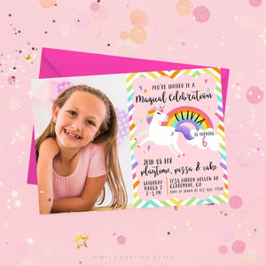 Rainbow Stripes Unicorn Birthday Invitation