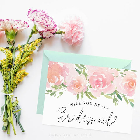 Pink Floral Be My Bridesmaid Card