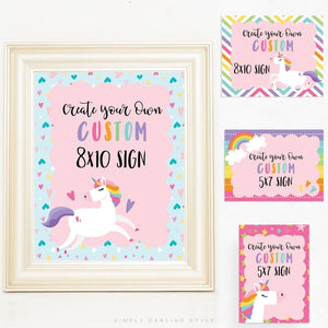 Rainbow Stripes Unicorn Signs - Set of 6