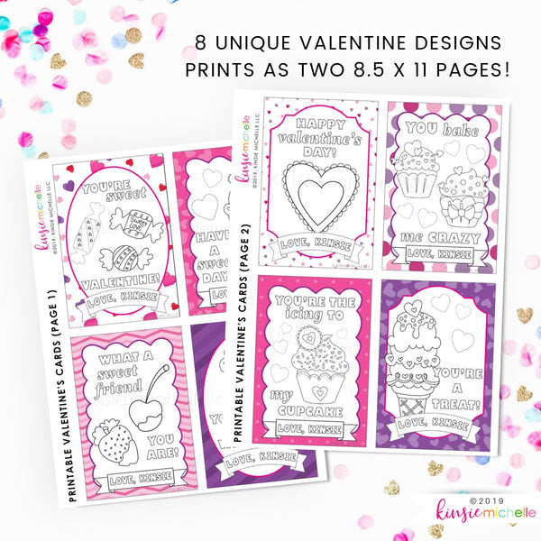 Coloring Valentine Cards- Sweet Candies