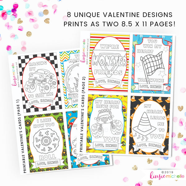 Coloring Valentine Cards- Monster Trucks