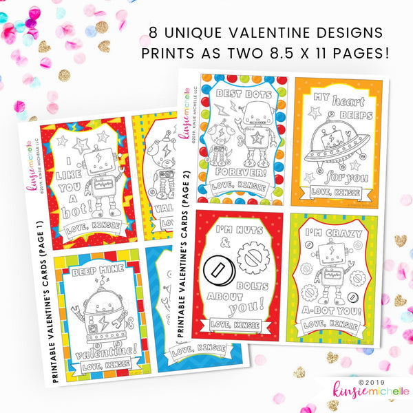Coloring Valentine Cards- Robots