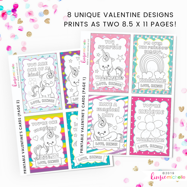 Coloring Valentine Cards- Unicorn