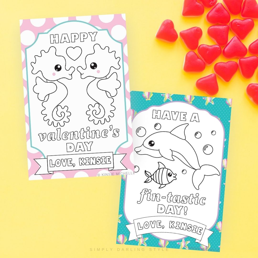 Coloring Valentine Cards- Sea Animals