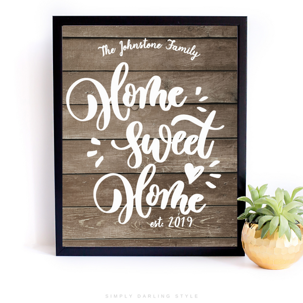 Home Sweet Home Personalized Family Sign