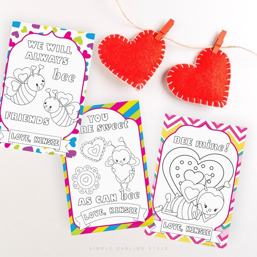 Coloring Valentine Cards- Bees