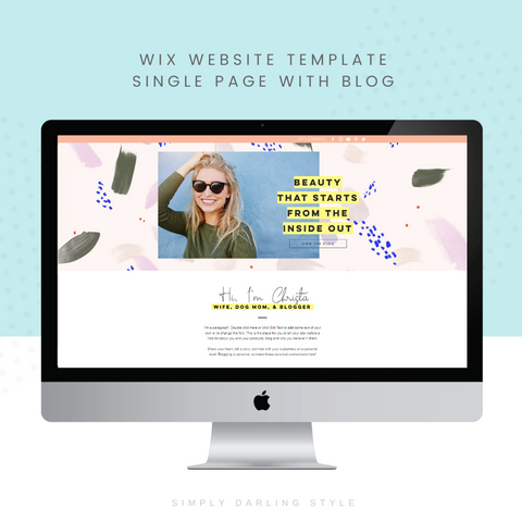 Christa Martin Single Page Blogger WIX Website Template