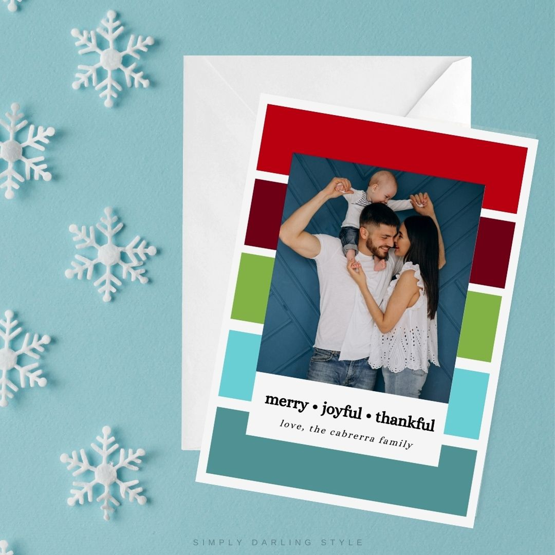 Colorful Stripes Christmas Card