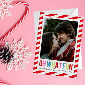 Candy Stripe Oh What Fun Christmas Card
