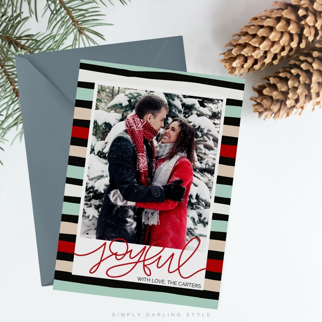 Red Joyful Stripes Christmas Card