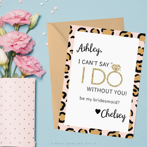 Pink and Gold Cheetah Be My Bridesmaid Card