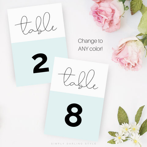 Simplicity Wedding Suite Table Numbers