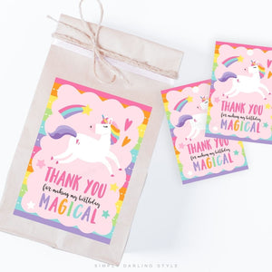 Rainbow Stripes Unicorn Thank You Tags
