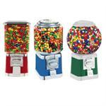 Candy dispenser machines in colors red, blue, and green