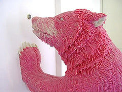 Bear made out of pink chewing gum