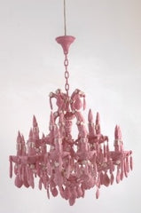 Chandelier made out of pink bubble gum