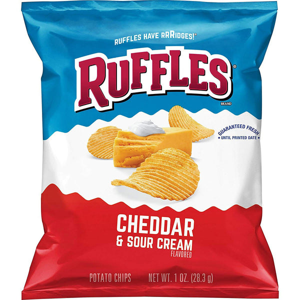 Ruffles cheddar and sour cream snack potato chips front of 1 oz bag