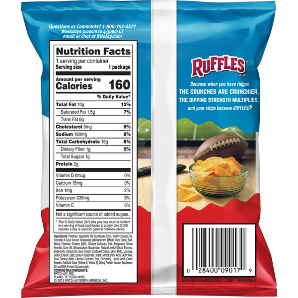ruffles cheddar and sour cream snack potato chips back view bag with nutrition and ingredients