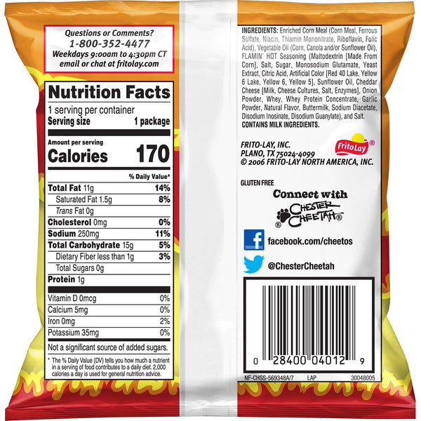 hot Cheetos cheese snack chips back view bag with nutrition and ingredients