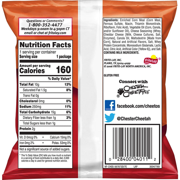 Cheetos crunchy cheese snack chips back view bag with nutrition and ingredients