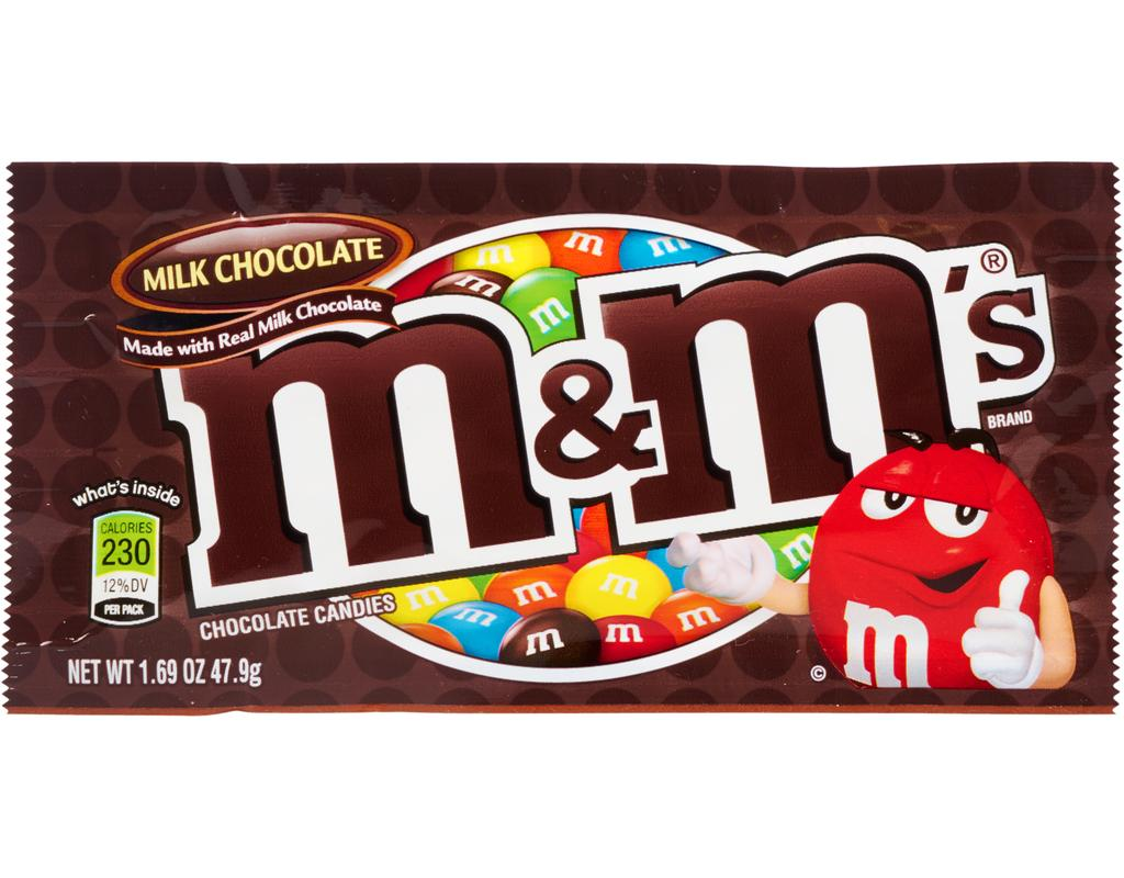 m and m mms m&m's milk chocolate candy front of 1.69 oz bag