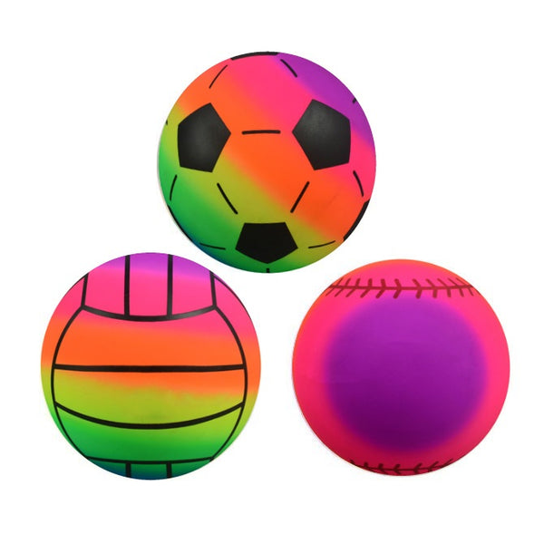 "6"" Rainbow Vinyl Sports Balls 100 ct product detail"