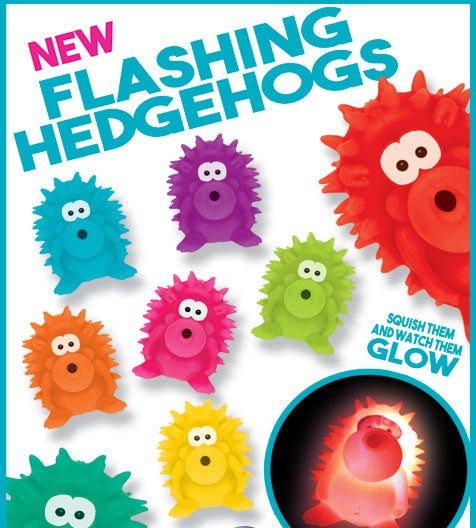 Flashing Hedgehogs 4 Inch Toy Capsules display