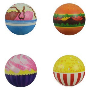 six inch printed Food Vinyl Inflatable balls popcorn pepperoni pizza product detail crane machine refill